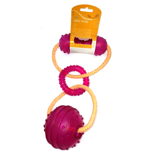 Image for Cotton Rope and Ball Tug Dog Toy from Pets At Home