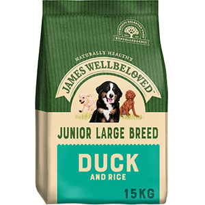 Image for James Wellbeloved Duck and Rice Junior Large Breed 15kg (Online Only) from Pets At Home