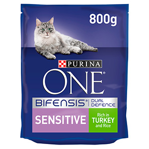 Image for Purina One Sensitive Cat Turkey and Rice 800g from Pets At Home