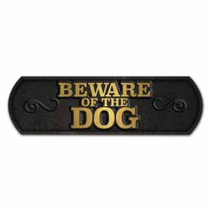 Image for Beware Of The Dog Cast Iron Landscape Sign from Pets At Home